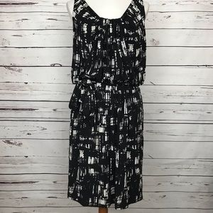 Loft Belted Sleeveless Black & White Dress Size 12